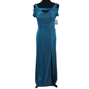NWT NW Nightway Teal Maxi Evening Prom Gown Dress